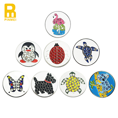 Animal Design Metal Golf Ball Markers With Crystal Stones