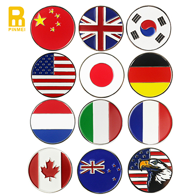 Soft Enamel Engraved Country Flag Metal Golf Ball Marker