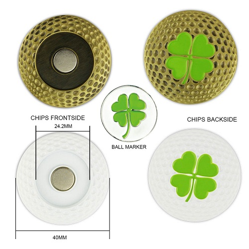 GP002 Golf Poker Chip Lucky Metal Magnetic Four Clover Leaf Poker Chip