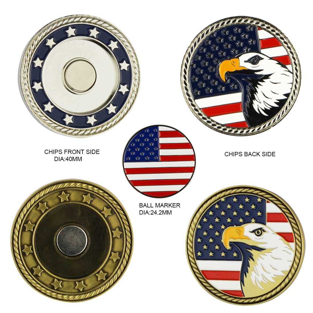 GP004 US Flag Eagle Design Metal Magnetic Poker Chip